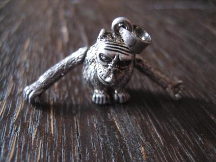 witziger origineller Anhänger Affe Schimpanse Bonobo 925er Silber beweglich