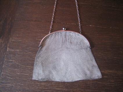 elegante Jugendstil Abendtasche Kettentasche Silbertasche Tasche Kettengeflecht