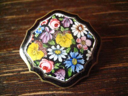 antike Blumen Brosche Emaille emailliert Rose Kornblume Veilchen Tracht Dirndl
