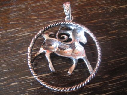 großer Art Deco Markasit Anhänger Sternzeichen Widder Horoskop 925er Silber - Vorschau 4