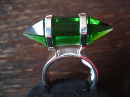 Traum Statement Designer Ring turmalin grün 925er Silber grüner Obsidian RG 60 - Vorschau 1