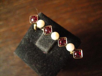 elegante Jugendstil Krawattennadel Stabnadel Brosche Granat Perlen 585er Gold - Vorschau 2