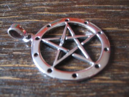 geschmackvoller Anhänger Amulett Drudenfuß Pentagramm Pentakel 925er Silber neu - Vorschau 3