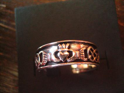 toller Claddagh Ring Herz Krone Hände Hochzeitsring 925er Silber RG 62 et Nox - Vorschau 1