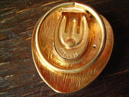 prächtiger vintage Schalhalter Tuchhalter Scarf holder gold mit Strass Steinen - Vorschau 4
