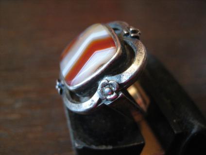 prächtiger Art Deco 835er Silber Streifenachat Ring Goldschmiede Handarbeit 1920 - Vorschau 3