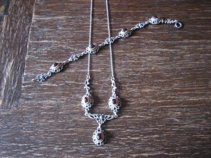 reizvolles antikes Trachten Dirndl Granat Collier Kette 835er silber Abhängung - Vorschau 4