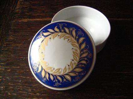 Thomas Porzellan Art Deco Dose Deckeldose weiß blau wunderschönes Dekor - Vorschau 2
