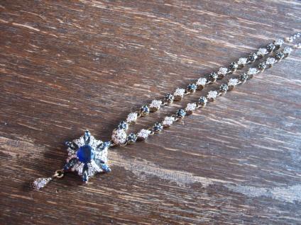 Kronjuwelen gesucht ? elegantes Stern saphir blau diamant Collier 925er Silber
