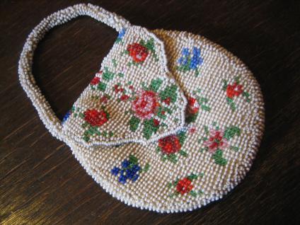 winzige Jugendstil Perlentasche Perlen bestickt Tasche Abendtasche Puppen