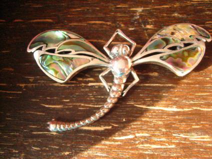 traumhaft schöne Jugendstil Brosche Libelle schimmernde Flügel 925er Silber