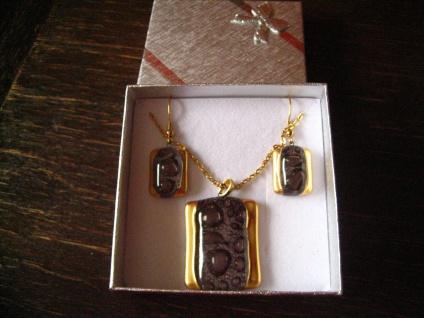 edles Schmuckset Anhänger Ohrringe braun gold NEU Kunsthandwerk Arts & Crafts - Vorschau 3