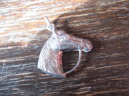 süßer Anhänger Pferd Pony Pferdekopf 835er Silber Glücksbringer für Reiter