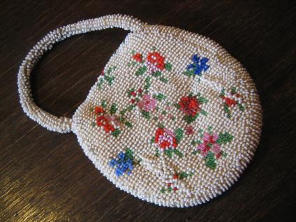 winzige Jugendstil Perlentasche Perlen bestickt Tasche Abendtasche Puppen - Vorschau 2