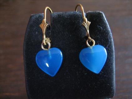 bezaubernd süße Herz Ohrringe Hänger 925er Silber gold blauer Achat blau NEU