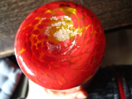 flammend Orange Murano Glas Muranoglas Vase Zylindervase Überfangglas Handarbeit - Vorschau 4
