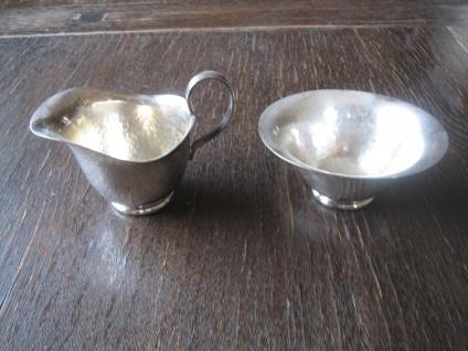 zauberhaftes Milch & Zucker Set Milchkännchen Zuckertopf Bauhaus Stil silber pl