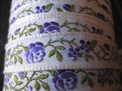 zauberhafte Webborte Borte Bordüre Rosen Motiv vintage mehrere Meter auf Rolle