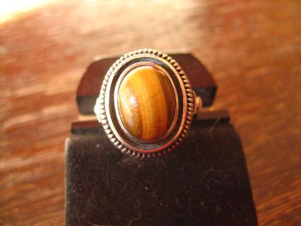 Prächtiger Art Deco Ring Tigerauge 900er Silber Handarbeit Meistermarke 18, 5 mm - Vorschau 2