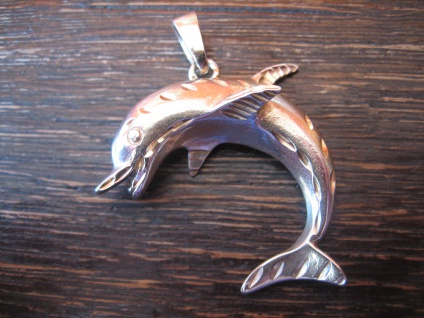 großer vintage Anhänger spielender Delfin Delphin Dolphin Pendant 925er Silber