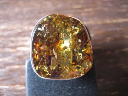 Statement Designer Ring 925er Silber baltischer Natur Bernstein Unikat RG 58 NEU