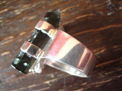 Statement Designer Drache Drachen Ring 925er Silber Vulkanglas 18, 25 mm verstell - Vorschau 5