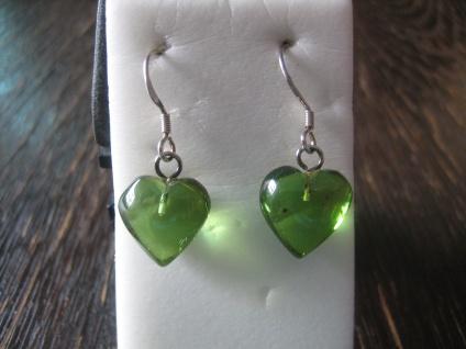 Traum in Giftgrün süße Herz Ohrringe seltener grüner Bernstein 925er Silber grün