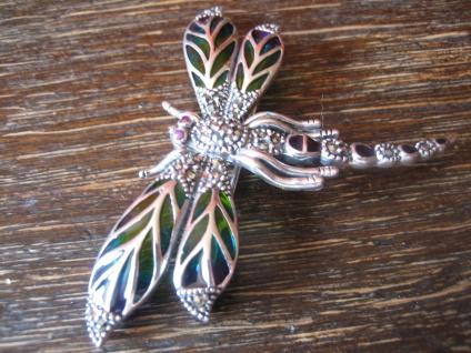 herrliche große Insekten Brosche Libelle Anhänger 925er Silber bunt emailliert - Vorschau 3