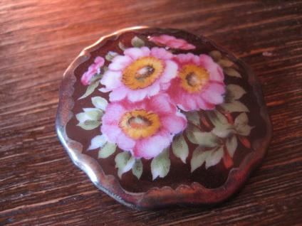 vintage Miniaturmalerei Porzellanmalerei Brosche üppige bunte Blüten Schumann C - Vorschau 3