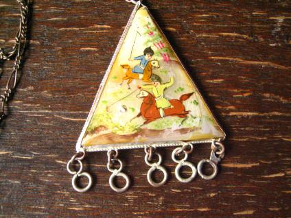 vintage Boho Ethno Anhänger persische Miniaturmalerei auf Perlmutt silber Kette - Vorschau 1