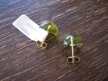 Traum in Giftgrün Ohrringe Stecker seltener grüner Bernstein 925er Silber grün - Vorschau 4
