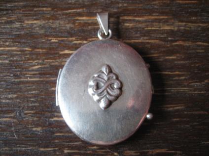 ultraflacher vintage Medallion Anhänger aufgesetztes Element floral 925er Silber