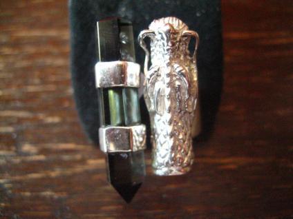 Statement Designer Drache Drachen Ring 925er Silber Vulkanglas 18, 25 mm verstell - Vorschau 3
