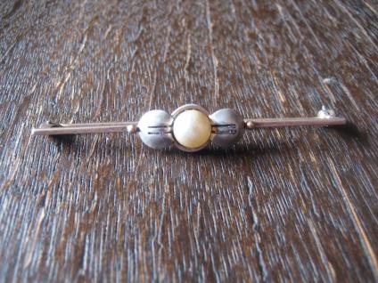 zeitlos elegante Art Deco Krawattennadel Brosche Stabnadel gold silber Perle
