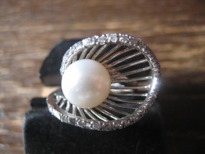 prachtvoller Vintage Designer Ring große Perle 925er Silber Zirkonia RG 56