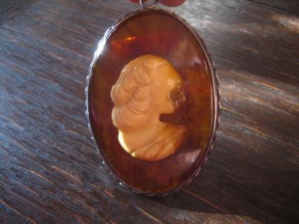 exquisiter Bernstein Anhänger Kamee Cameo Honigbernstein Art Deco Silber Unikat