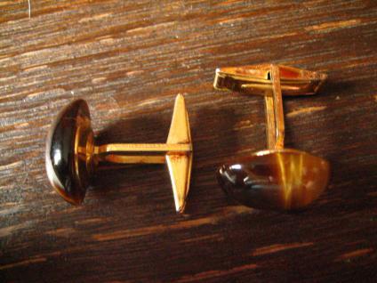 seltene vintage Manschettenknöpfe mit schimmerndem Tigerauge braun gold - Vorschau 2