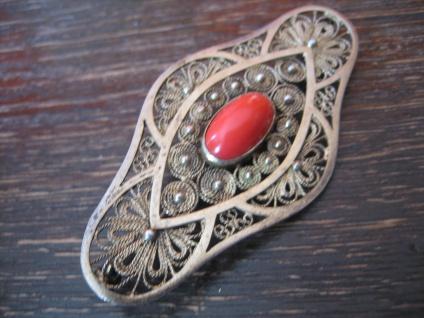 prächtige Art Deco Brosche rote Koralle Silber vergoldet allerfeinste Handarbeit - Vorschau 3