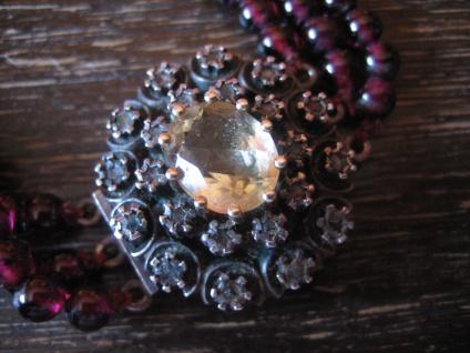 prunkvolles Biedermeier Granat Collier Silber Schmuckschließe Diamantrosen 3reihig - Vorschau 2