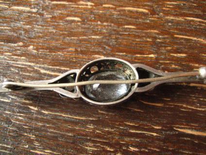 edle Art Deco Krawattennadel Brosche Stabnadel 835er Silber Stein aquamarin blau - Vorschau 4