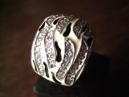 moderner edler breiter Designer Ring 925er Silber Emaille schwarz weiß Zirkonia