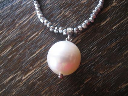 Designer Anhänger 925er Silber echte Perle Natur weiß AAA 13 - 14 mm an Kette