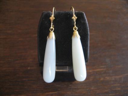 elegante Ohrringe Hänger feine zart blaue Jade Pampeln 925er Silber gold NEU