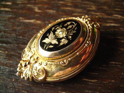 prächtige wunderschön verzierte Biedermeier Brosche gold Emaille Nostalgie pur ! - Vorschau 2