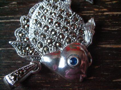 prächtiger Markasit Anhänger Goldfisch Schleierfisch 925er Silber beweglich - Vorschau 3