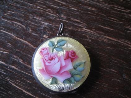 Jugendstil Medallion Anhänger Emaille 835er silber Art Nouveau Locket enamel C