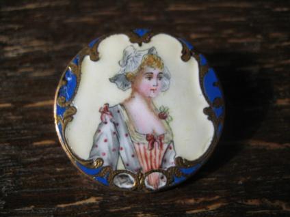 traumhafte Jugendstil Brosche Emaille Miniaturmalerei Lupenmalerei Dame mit Rose