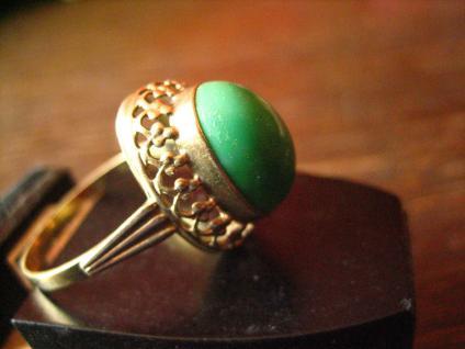 herrlicher antiker Türkisring Ring Türkis 333er Gold wunderschön verziert - Vorschau 2