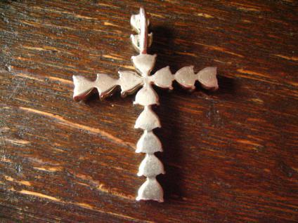 grosser moderner Granat Kreuz Anhänger böhmische Granaten blutrot 925er Silber - Vorschau 3