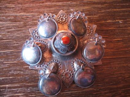 Rarität! Solje Brosche Hochzeitsbrosche Gesicht Maske 830er Silber Norwegen
